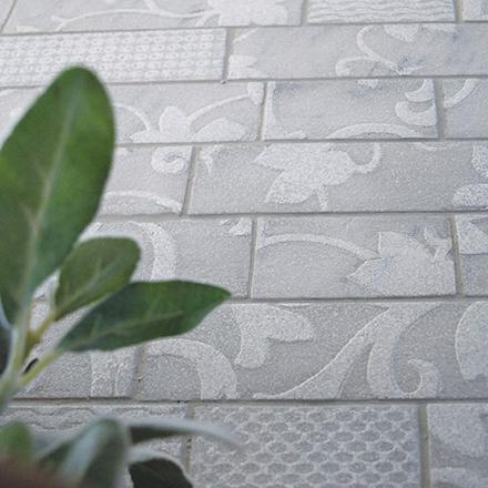 KA LN -1020 - 08 Mosaic cm 5 x 10 / 5 x 20 Marble: Semibianco
