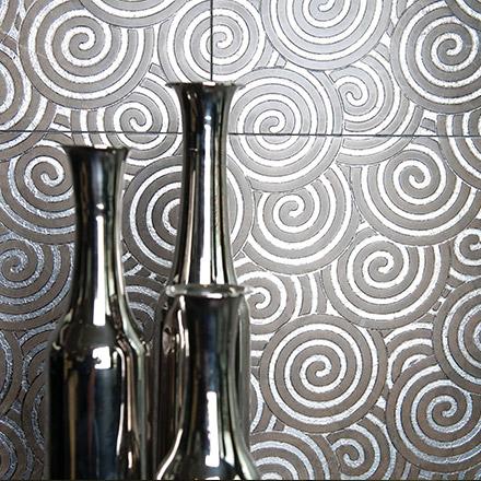 SPIRA | cm 30,5 x 30,5 - Decor Olive - Background Silver