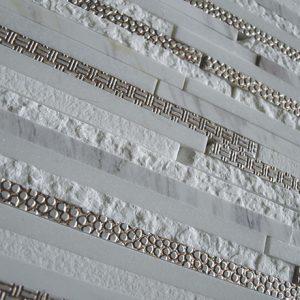 MIX S 6009 Mosaic cm 1,2 x Asymmetric Marble Thassos / Nuvolino